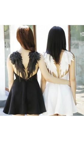 BM40 BLACK DARK ANGEL MALEFICENT WINGS DRESS LOLITA GOTHIC Swan disneybounding