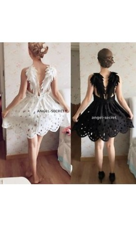 BM41 BLACK DARK ANGEL MALEFICENT WINGS DRESS LOLITA GOTHIC Swan BACKLESS wedding