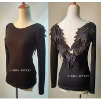 BM52 DARK ANGEL MALEFICENT cosplay WINGS TEE SHIRT GOTHIC BLACK Swan BACKLESS