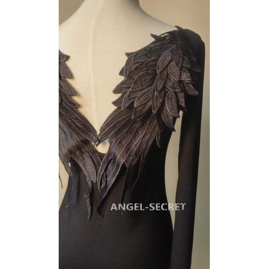 BM52 DARK ANGEL MALEFICENT cosplay WINGS TEE SHIRT GOTHIC BLACK Swan BACKLESS