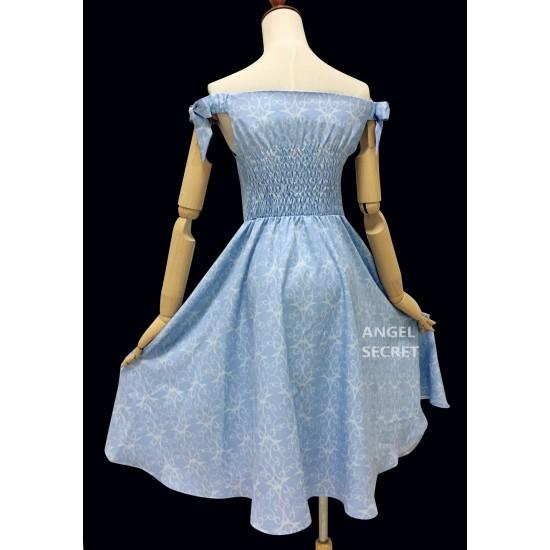 BM70 cinderella inspired dress disneybound princess off shoulder SML blue bow