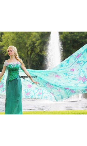 CL18  adult Frozen Fever Queen ELSA Cosplay Costume Dress cloak cape green women