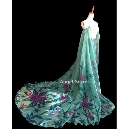 CL18  adult Frozen Fever Queen ELSA Cosplay Costume Dress cloak cape green women