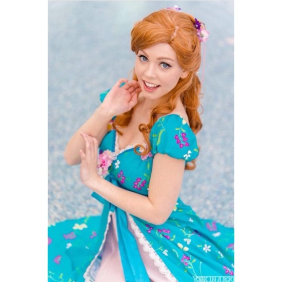 Enchanted Giselle Dress TEAL PRINCESS Adult Costume Cosplay Wedding Ball Gown