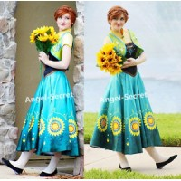 J555 Anna costume frozen fever spring women cosplay sunflower dress and vest