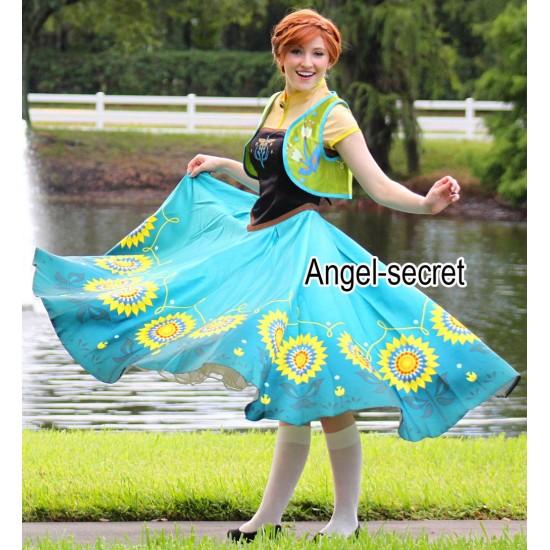 J555 Anna costume frozen fever spring women cosplay sunflower dress and vest