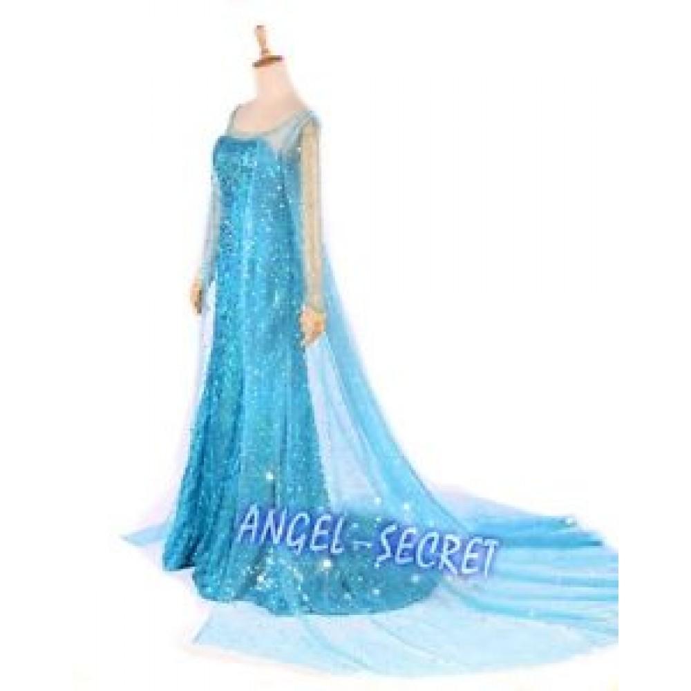 J722 Elsa Cosplay Costume  sc 1 st  angel-secret & J722 Frozen Snow Queen Elsa Cosplay Costume Deluxe Dress ...