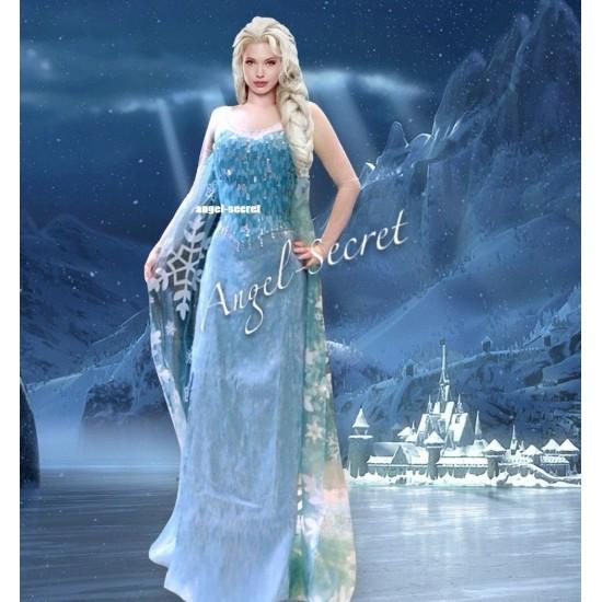 J777 Movies Frozen Snow Queen ELSA Cosplay Costume Dress tailor HANDMADE CUSTOM