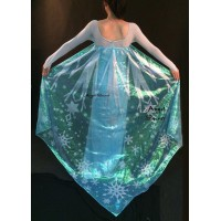 J789 Movies Frozen Snow Queen Elsa Cosplay Costume iridescent dress tailor with cape