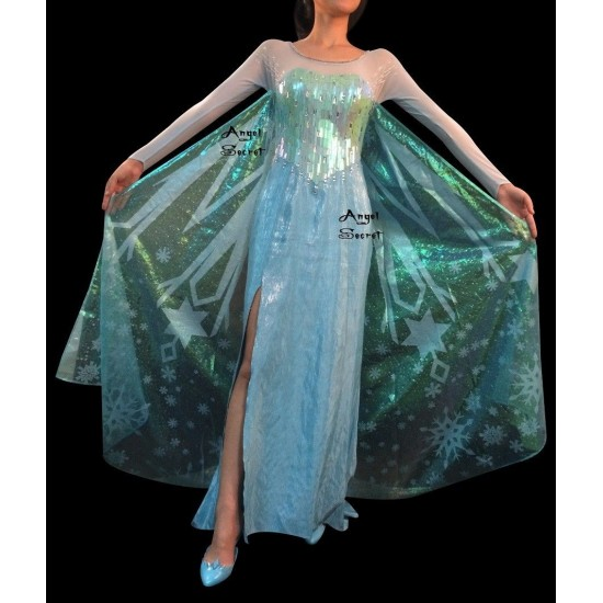 J789wc Movies Frozen Snow Queen Elsa Cosplay Costume iridescent dress tailor without cape