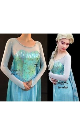 J889WS Frozen Elsa Cosplay Costume with no sequins