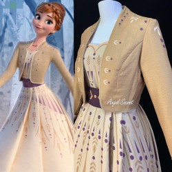 J900 Frozen2 Anna cosplay gown costume