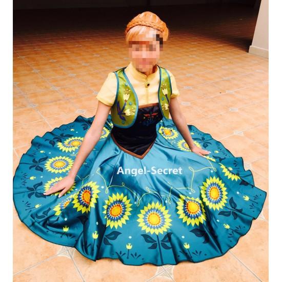 J959 Anna women costume frozen fever full set spring cosplay sunflower adult 4pc