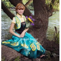 J959 Anna women costume frozen fever full set spring cosplay sunflower adult 4pc