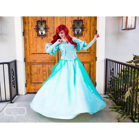 K178 Ariel teal sequins gown park version with swarovski brooch green version
