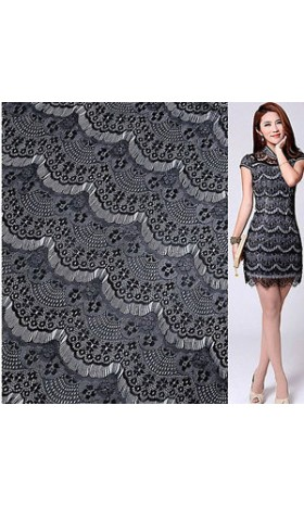 MAT102 Lace Fabric Black Eyelash Soft Lace Wedding Fabric 58'' width 1 yard