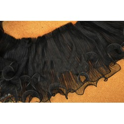 "MAT105 Lace Trim Fabric White Black 3 Layers Wedding Fabric 5.11"" width 2 yards"