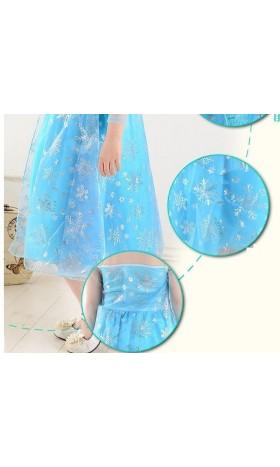 MAT11Elsa blue silver Snowflake Organza Fabric