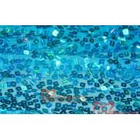 MAT5  Elsa blue square sequins viscose mesh Fabric 130CM Wide(Blue)