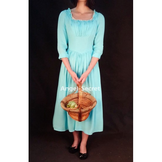 P007 2015 Cinderella Adult Cosplay Costume Casual Blue Dress