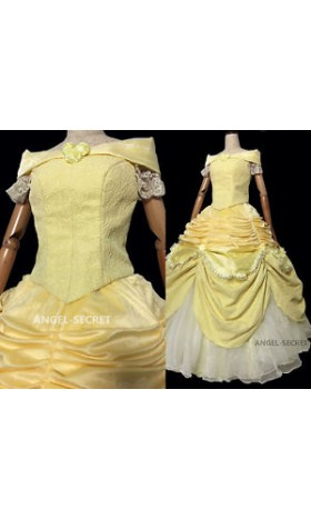 P106 COSPLAY beauty and beast princess belle Costume tailor made puffy version
