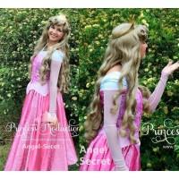 P140 COSPLAY Dress Princess sleeping beauty pink Costume Aurora women adult