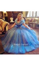 P143 Movies Cosplay Costume Cinderella 2015 Ella blue dress princess iridescent