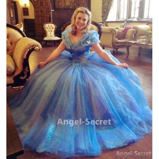 P143 Movies Cosplay Costume Cinderella 2015 Ella blue dress princess iridescent