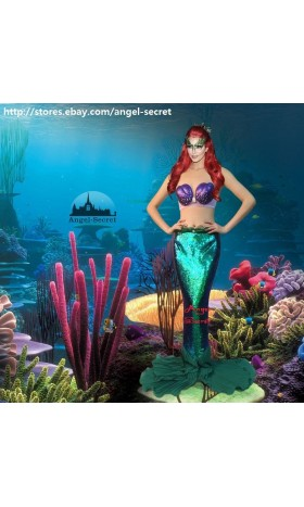 P145 lower Waist Green sequins Mermaid  Ariel skirt