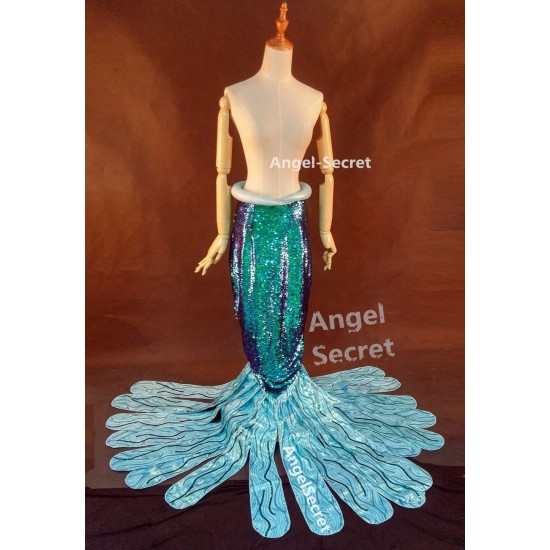 P149 Green sequins Mermaid Skirt Fish Ariel tail Costume swimable park version
