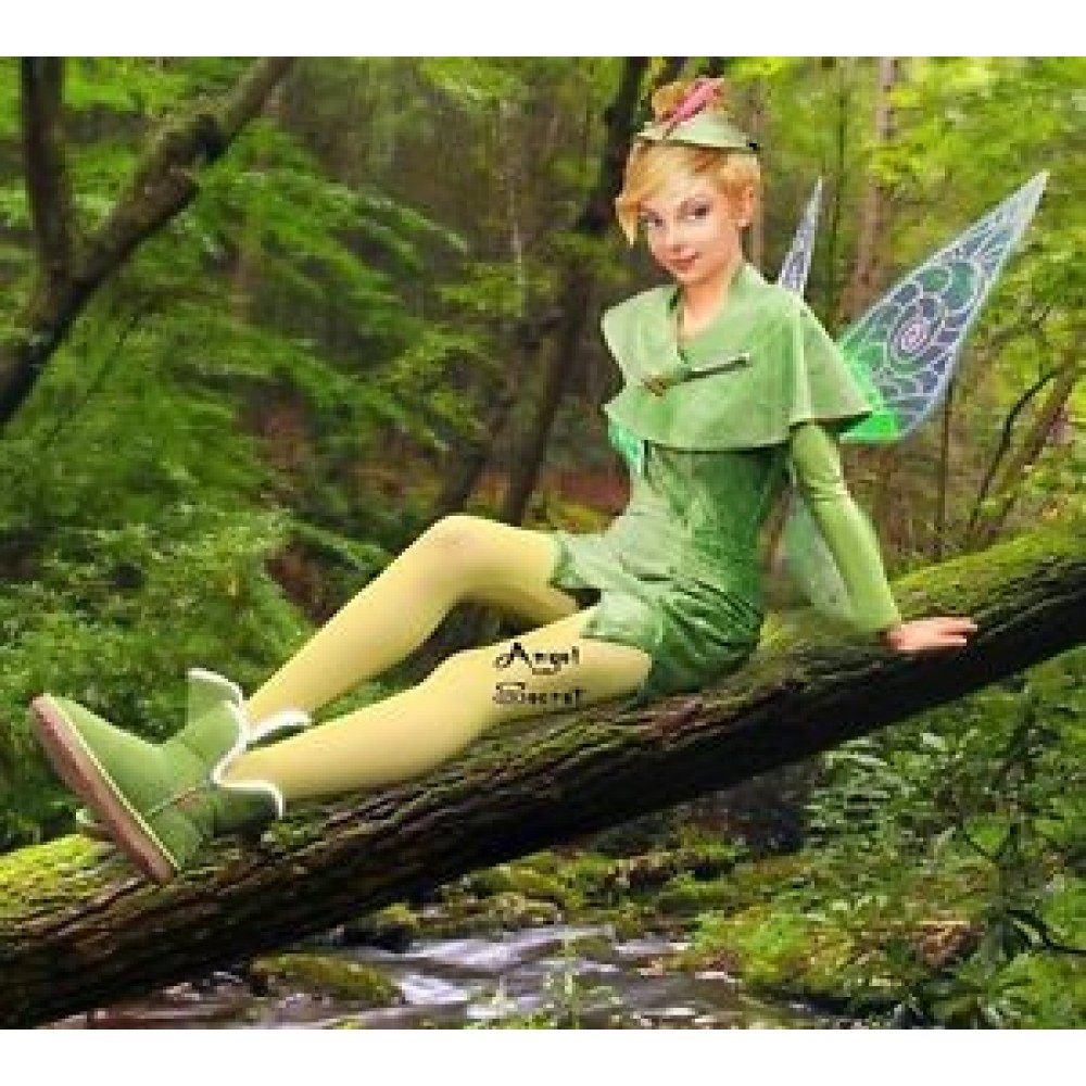 P156 Green Tinkerbell Flannel Leaf Print Dress Costume -8234