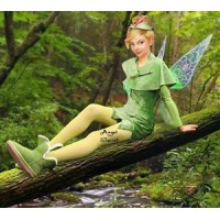 P156 Green Tinkerbell flannel leaf print dress Costume custom made women adult
