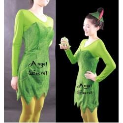 P156 Green Tinkerbell flannel leaf print dress Costume custom made women adult