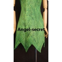 P156C Tinkerbell leaf print dress green rhinestones cosplay adult women fairy