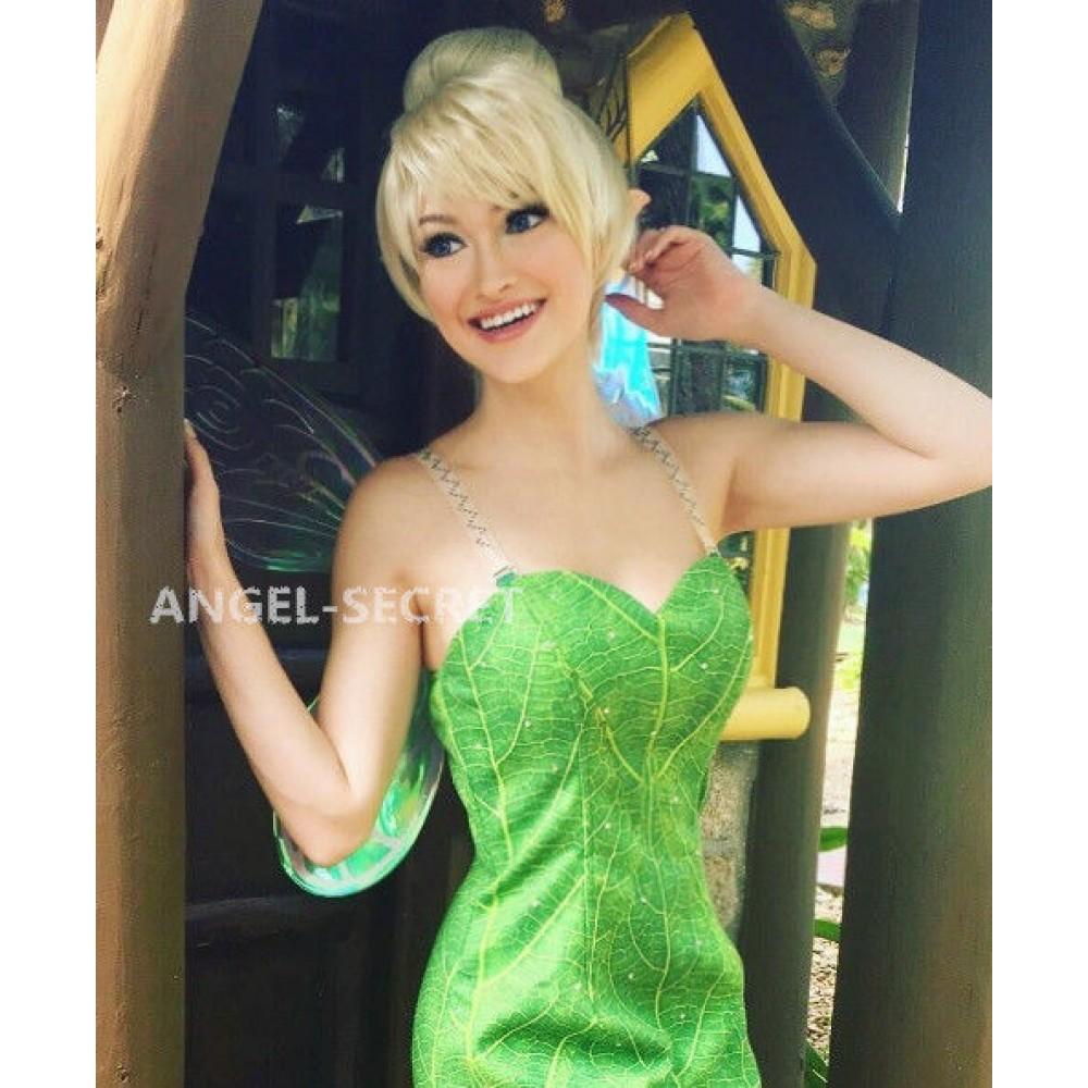 P156C Tinkerbell leaf print dress green rhinestones cosplay adult women  fairy e2dd3b1eb