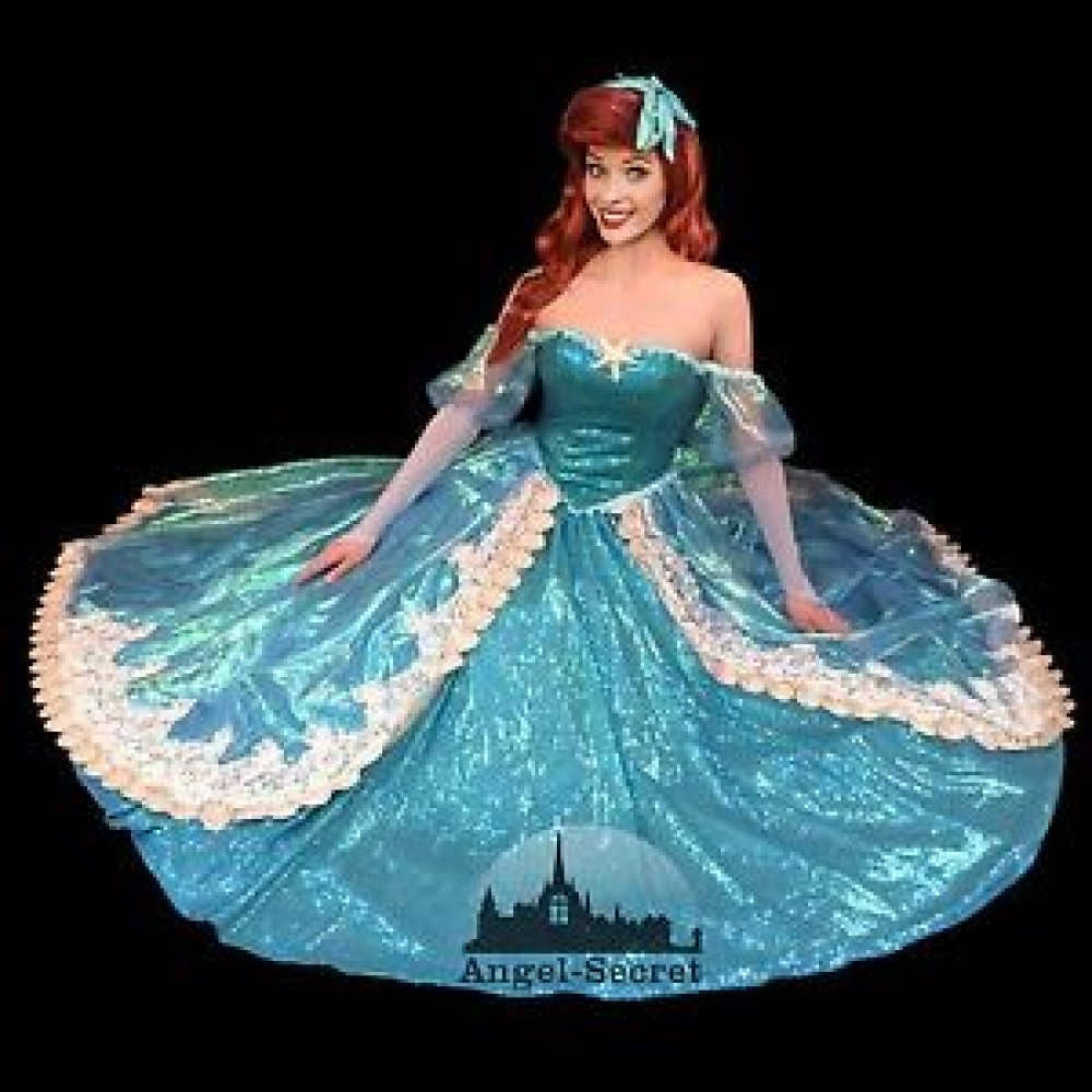 P157 New Little Mermaid Aqua Custom gown princess Ariel teal ...