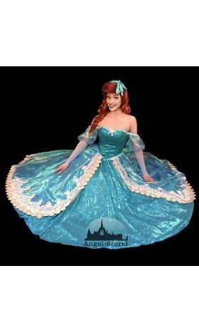 P157 New Little Mermaid Aqua Custom gown princess Ariel teal sequins shel