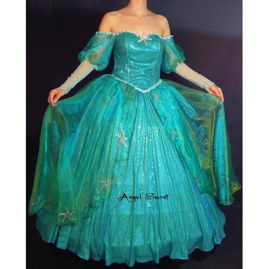 P158 with sea star rhinestone Ariel gown dress Little mermaid