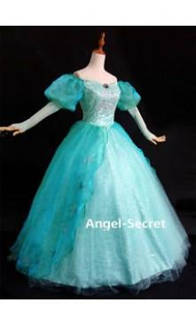 P180 Little Mermaid Aqua Custom gown princess Ariel teal sequins park version