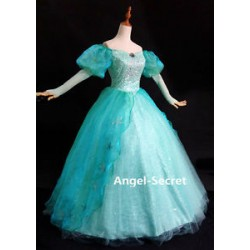 P180 Little Mermaid Aqua Custom gown princess Ariel teal sequins park version