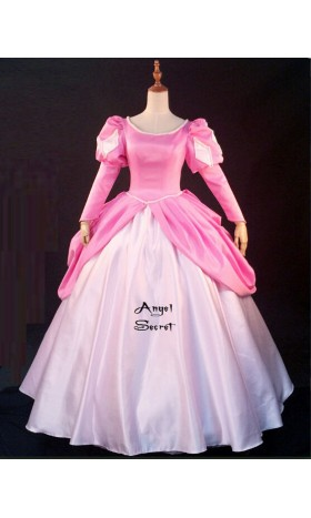 P185 Movies Cosplay Costume movie pink Ariel princess dress with pearls