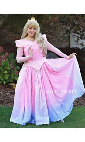 P240 COSPLAY pink blue Dress Princess sleeping beauty Costume Aurora women