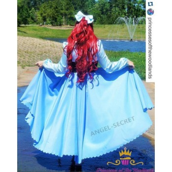 P245 COSPLAY kiss the girl Ariel Princess little mermaid women costume with bow