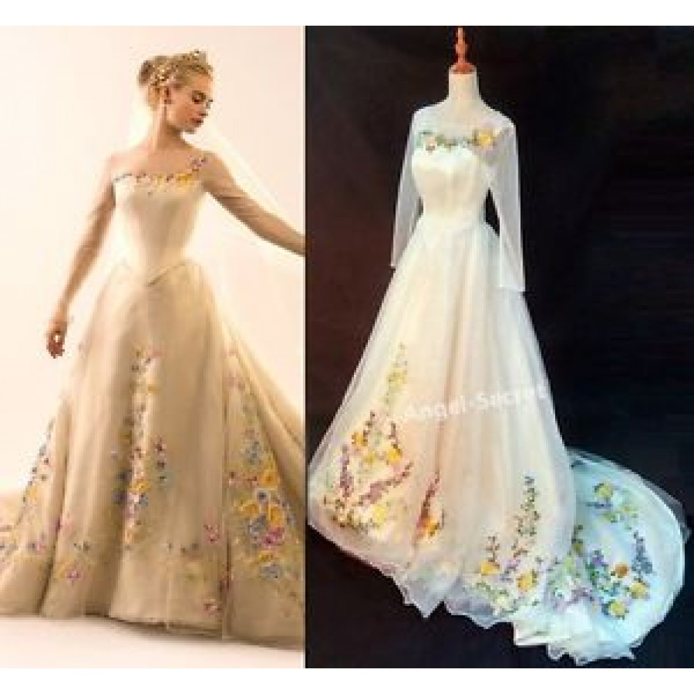 bff7b8efcd9 P305 Movie Costume Cinderella 2015 Ella wedding bridal dress with long train