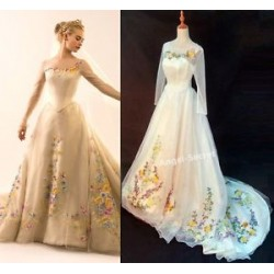P305 Movie Costume Cinderella 2015 Ella wedding bridal dress with long train