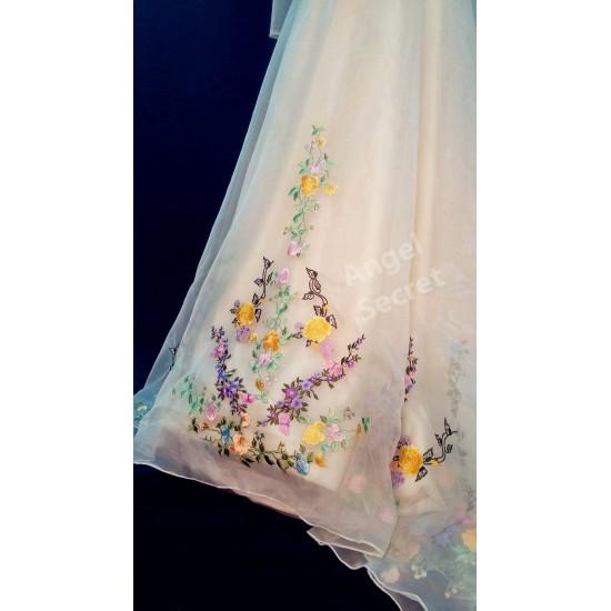 P305 Movie Costume Cinderella 2015 Ella wedding bridal dress with long train