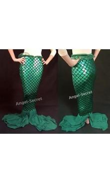 P335 Green Ariel mermaid Skirt Fish tail Costume STRETCH walkable