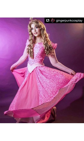 P340 COSPLAY Dress Princess sleeping beauty pink Costume Aurora women adult park