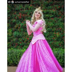 P340 COSPLAY Dress Princess sleeping beauty pink Costume Aurora women adult park