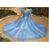 P343 Movies Cosplay Costume Cinderella 2015 Ella blue dress gradient iridescent